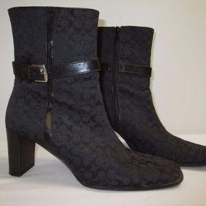 Coach Signature Canvas Black Ankle Boots Size 7B